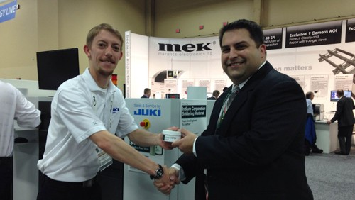(From left to right): Bryce Timms of Juki and Mario Scalzo of Indium Corporation at APEX 2014.