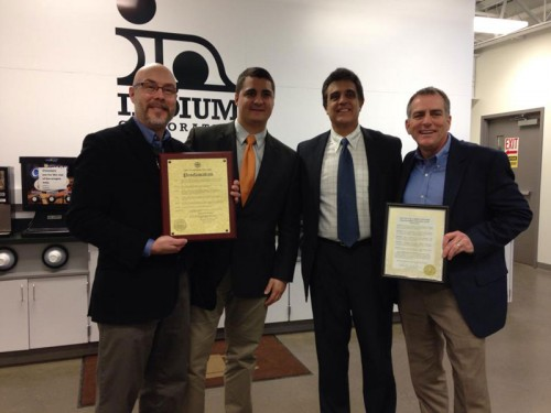 (From left to right) Indium Corporation Director of Marketing Communications Rick Short, City of Rome Director of Economic Development Jake DiBari, City of Utica Mayor Robert M. Palmieri, and Indium Corporation President and CEO Greg Evans.