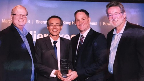 Pictured left to right: ON Semiconductor's President and CEO Keith D. Jackson; Indium Corporation's Weng Fai Pang, Managing Director for Asia-Pacific Operations; Indium Corporation's Tim Twining, Vice President of Marketing; and ON Semiconductor's Keenan Evans, Senior VP, Quality, Reliabilit