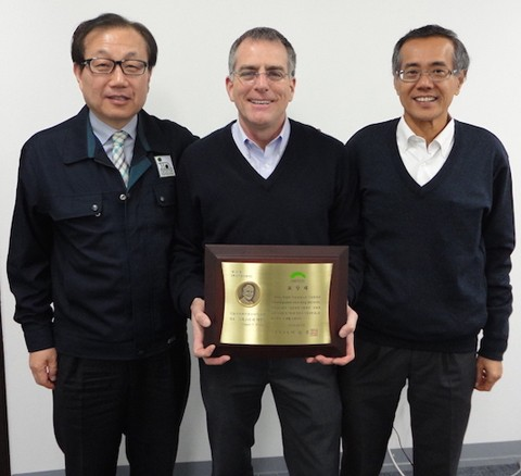 Indium Corporation's Greg Evans (center) is joined by Young-Rib Yoon, chief marketing officer for South Korea (left), and Pang Weng Fai, managing director for Asia-Pacific Operations in Singapore (right).