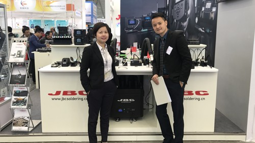 Pictured left to right: Indium Corporation Area Tech Manager for Eastern China Wisdom Qu; and JBC Soldering Tools China Sales Manager Billy Shen at Productronica China 2017.