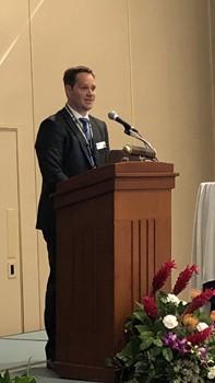 Indium Corporation's Vice President of Marketing Tim Twining accepts the SMTA Corporate Partnership Award at SMTAi 2018.