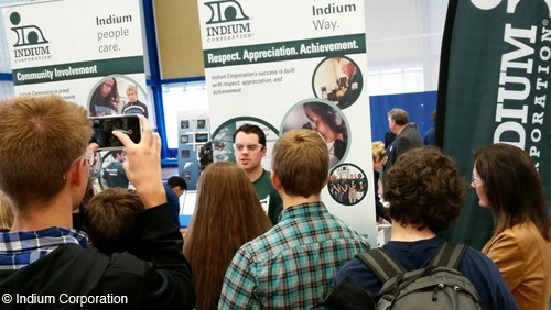 Indium Corporation Talent Acquisition Coordinator Jim McCoy speaks to a group of students at the SUNY Poly National Manufacturing Day Expo.