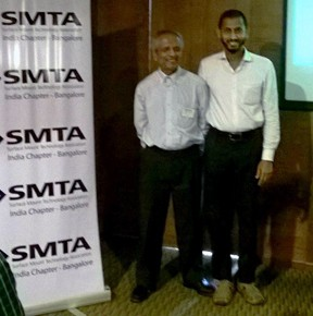 Indium Corporation Assistant Technical Manager Liyakathali Koorithodi (right) poses with Amba Prasad (left) at the SMTA India Chapter's quarterly meeting on March 7.