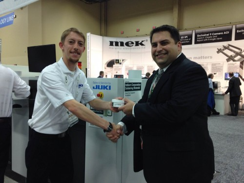 (From left to right): Bryce Timms of Juki and Mario Scalzo of Indium Corporation at APEX 2014. This year marks the 10th anniversary of Live at APEX.