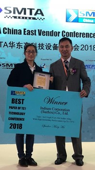 "Indium Corporation's Evelyn Lu, Bench Chemist, left, accepted the ""Best Paper"" award on Ma's behalf."